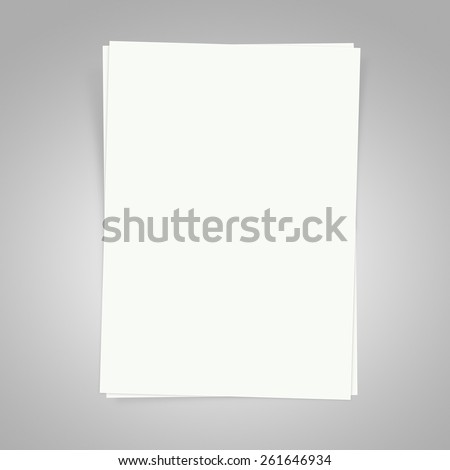 Blank white papers on a gray background with shadows - stock photo