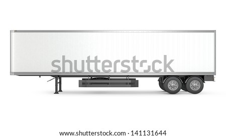 Blank white parked semi trailer, side view, isolated on white background - stock photo