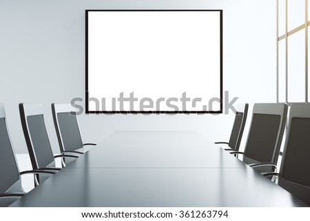 Blank white picture frame on the wall of conference room with furniture, mock up - stock photo