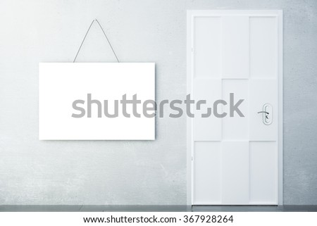 Blank white picture on concrete wall with white door in empty room, mock up 3D Render - stock photo