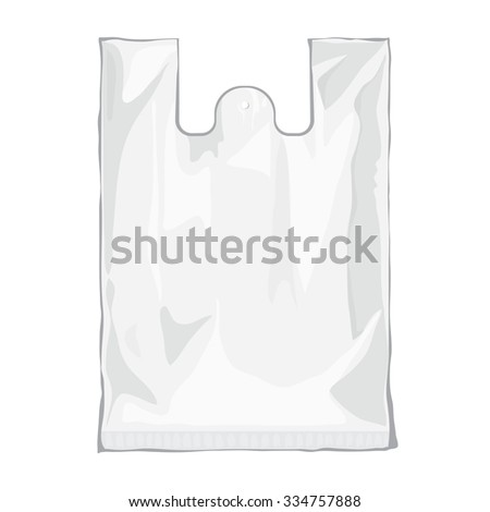 Blank white plastic bag isolated on white background. Blank plastic bag with place for your design and branding. Ready for Your design. Product packing bag.  transparent bag