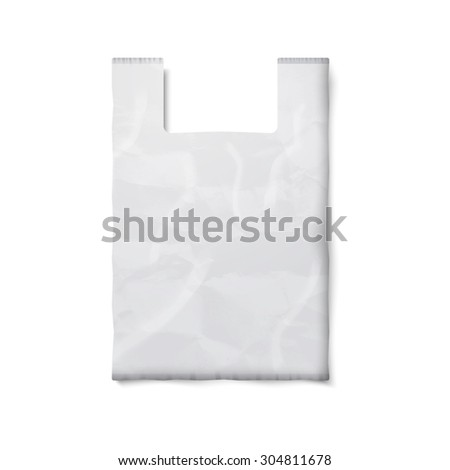 Blank white plastic bag with place for your design and branding isolated on white background.  - stock photo