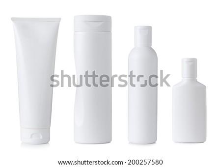 Blank white plastic cosmetics bottles set, isolated on white background - stock photo