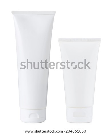 Blank white plastic cosmetics paste or gel tube, big and small, isolated on white background