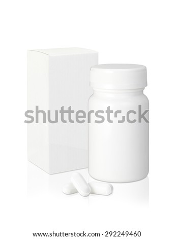 Blank white plastic medicine bottle and blank paper package box and pills isolated on white background ? - stock photo