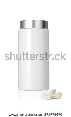 Blank white plastic medicine bottle and  pills  isolated on white background   - stock photo