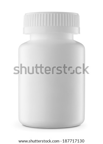 Blank, white plastic medicine bottle isolated on white background - stock photo