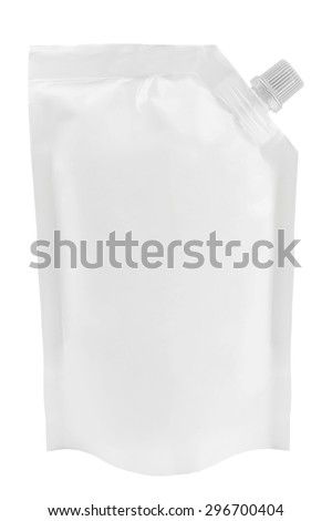 Blank white plastic pouch with batcher or doy pack with cap isolated on white background - stock photo