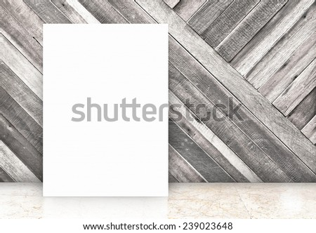 blank white poster at diagonal wooden wall and marble floor room,Template Mock up for your content  - stock photo