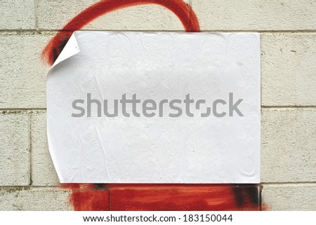 Blank white poster on grunge wall with copy space for your text or design. - stock photo