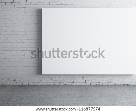 blank white  poster on wall - stock photo