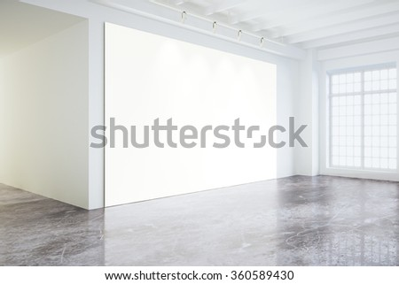 Blank white poster on white wall in empty loft room with big windows, mock up 3D Render - stock photo