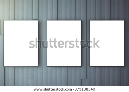 Blank white posters on grey wall, mock up 3D Render - stock photo