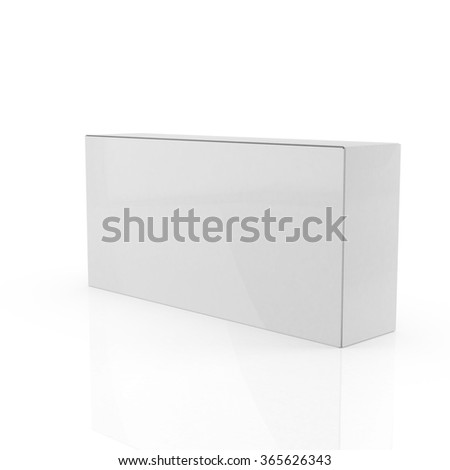Blank White Product Package Box Mockup. Container, Packaging Template, 3d render on white background