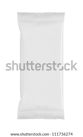 blank white product packaging on white background - stock photo