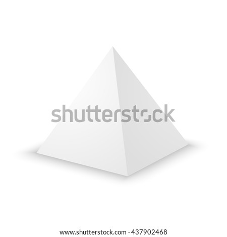 Blank white pyramid on white background. 3d template.