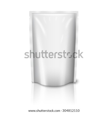 Blank white realistic plastic pouch isolated on white background with reflection and place for your design and branding.  - stock photo