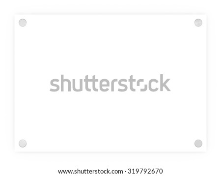 Blank white rectangle sign plaque isolated on a white background.
