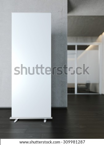 Blank white roll up banner near concrete wall. 3d rendering