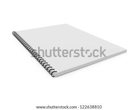 Blank white ruled notebook, ring binder, isolated on white background. - stock photo
