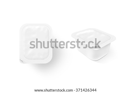 Blank white sauce box mock up stand isolated. Sause clear jar mockup, 2 sides. Sour cream empty box design presentation. Butter packaging. Jam bank template. Pudding box pack. Butter plastic package. - stock photo