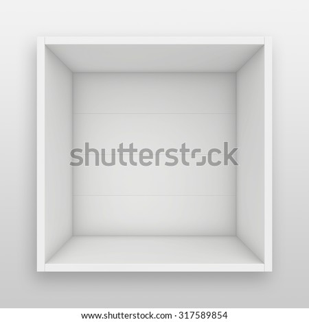 Blank white shelf. 3d render on the background of gray wall. - stock photo