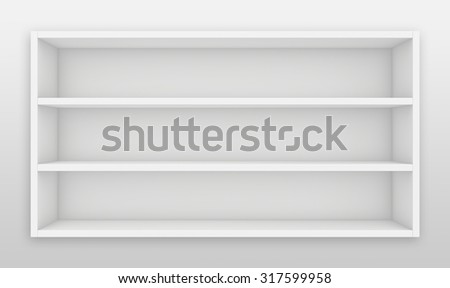Blank white shelves. 3d render on the background of gray wall.