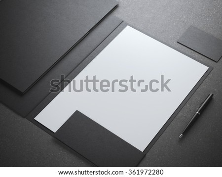 Blank white shhet in black folder