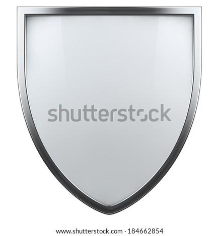 Blank white shield isolated icon. - stock photo