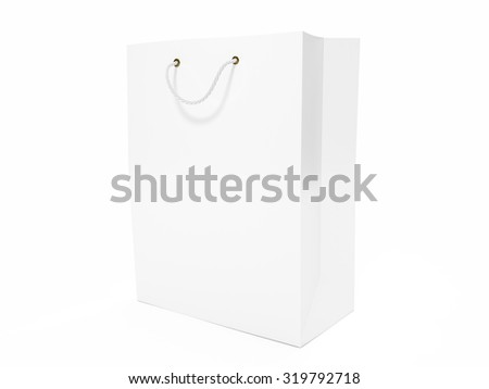 Blank white shopping bag isolated on a white background.