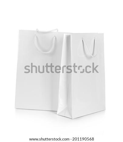 Blank White Shopping Bags isolated on white background - stock photo