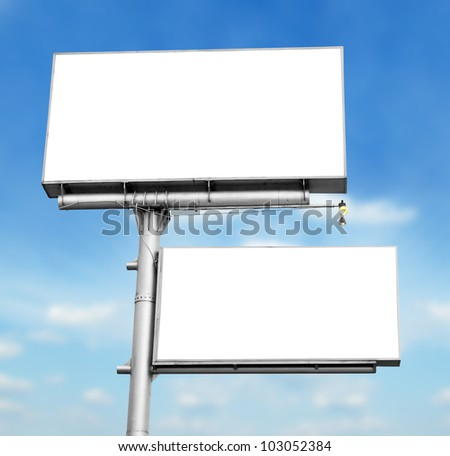 blank white sign board in blue sky background