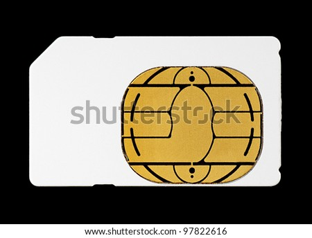 Blank White Sim Card for Mobile Cellphone Isolated on Black Background