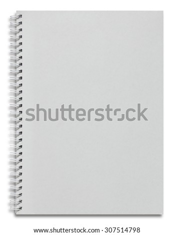 blank white spiral notebook isolated on white - stock photo