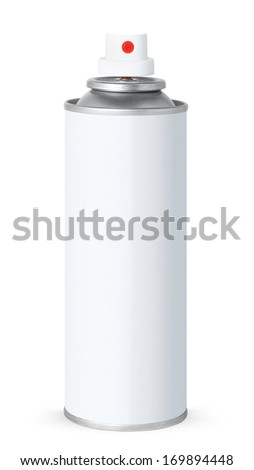 Blank white spray can, isolated on white background - stock photo