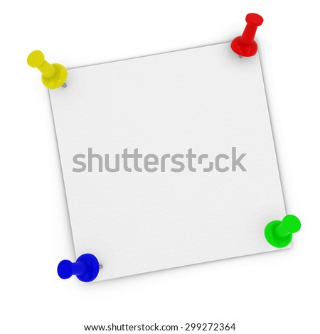 Blank White Sticky Note with Corners Pinned to white background by multicoloured pins - stock photo