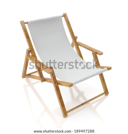 blank white sun chair isolated on white background - stock photo