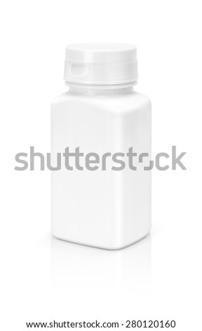 blank white supplement packaging bottle isolated on white background