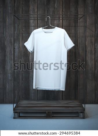 Blank white t-shirt on hanger . 3d rendering - stock photo