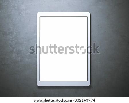 Blank white tablet on the floor - stock photo