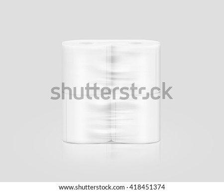 Blank white toilet paper roll packaging mockup, isolated, clipping path, 3d illustration. Napkin clear package design mock up stand. Wc lavatory toilet paper rolls packing transparent wrap template. - stock photo