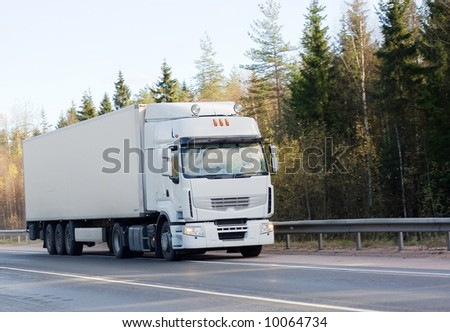 "blank white tractor trailer truck of ""Trucks"" series - stock photo"