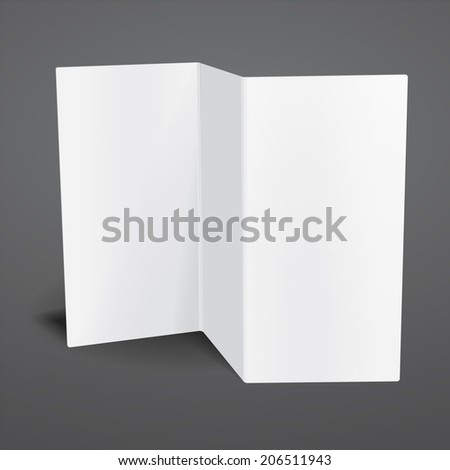 Blank white tri fold brochure template. Rasterized illustration.