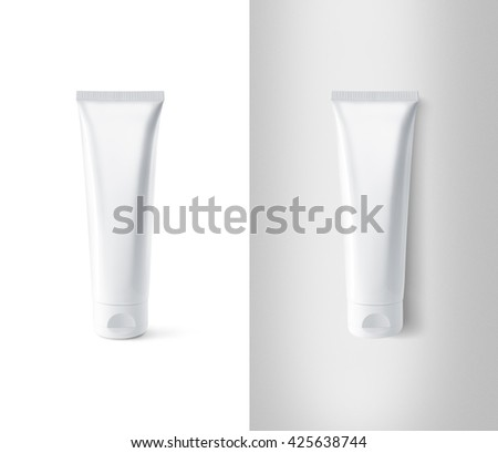 Blank white tube design mockup set, isolated, clipping path. Clear cream packaging stand and lies mock up. Lotion skin care empty package bottle template container. Scincare cosmetic gel tube flacon. - stock photo