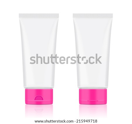 Blank white tube have pink lid front side & back side for mock-up art work, illustration or other job - stock photo