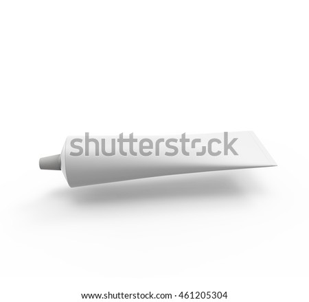 Blank White Tube Of Toothpaste, Gel Or Cream . Mockup for your design. 3D illustration