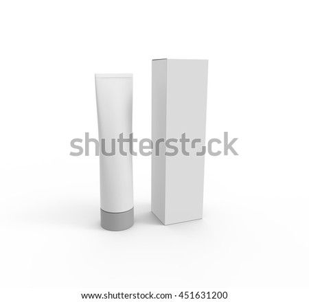 Blank White Tube Of Toothpaste, Gel Or Cream With Box. Mockup for your design. 3D illustration