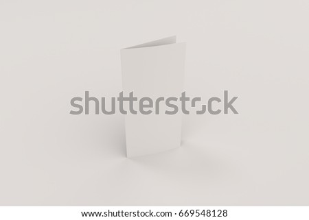 Blank white two fold brochure mockup on white background. Clean postcard. Leaflet or booklet template. 3D rendering illustration
