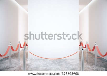 Blank white wall in an empty room with grey marble floor and red ribbons on steel poles. Mock up, 3D Render - stock photo