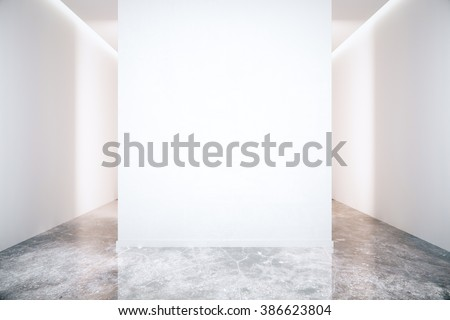 Blank white wall in room with grey marble floor. Mock up, 3D Render - stock photo